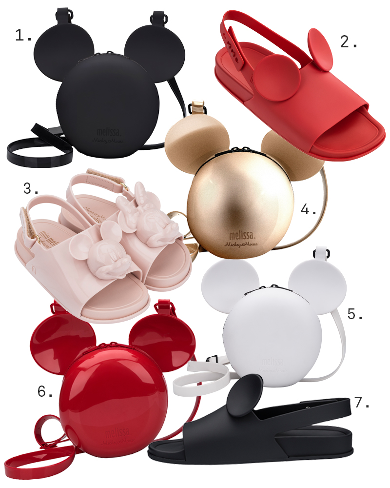 22faeb7da9 Melissa Disney Ball Bag in Black  180 2. Melissa Disney Beach Slide Sandal  in Red  150 3. Mini Melissa Disney Beach Slide Sandal in BB Pink  110 4.