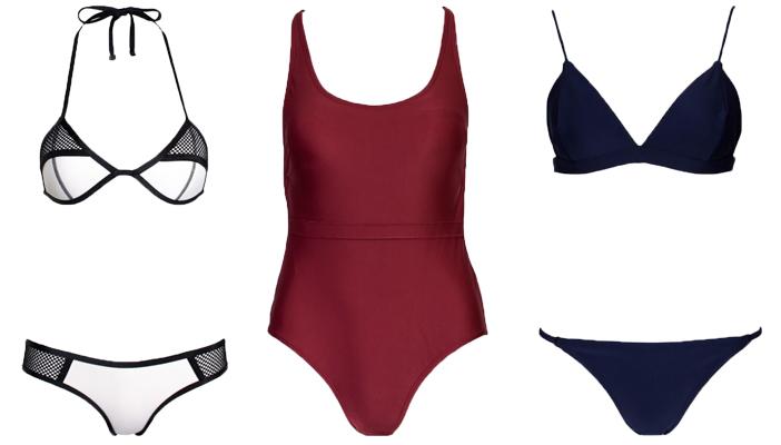 f313ee00c4a Left to right: Triton Bikini in Arctic $77, Poseidon Swimsuit in Garnet  $77, Neptune Bikini in Ink $77