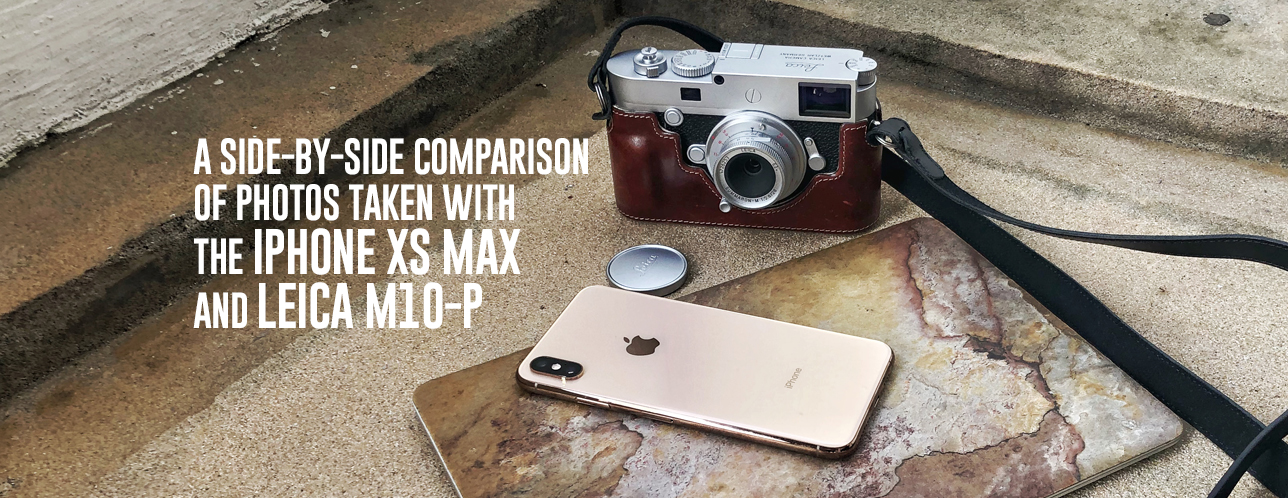 A side-by-side comparison of photos taken with the iPhone XS