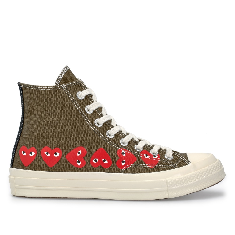 PLAY Comme des Garcons Converse Multi Heart Chuck Taylor All Star '70 / Launch: Friday 19 October (in-store & E-SHOP) / Price: SGD220 (High Top), SGD210 (Low Top) / Colour: White, Khaki