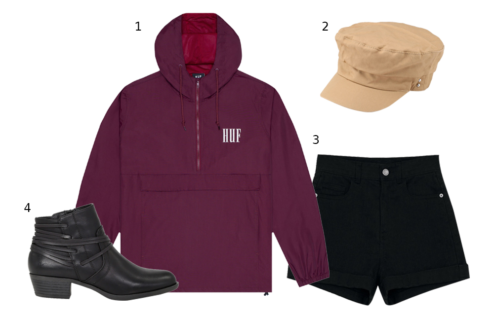 b38ad586 1. HUF Marka Anorak (70USD); 2. Topshop Stud Baker Boy Hat ($33.90); 3.  Pomelo High Rise Cuffed Shorts ($39); 4. London Rag Adele Stylish Black  Zipper Ankle ...