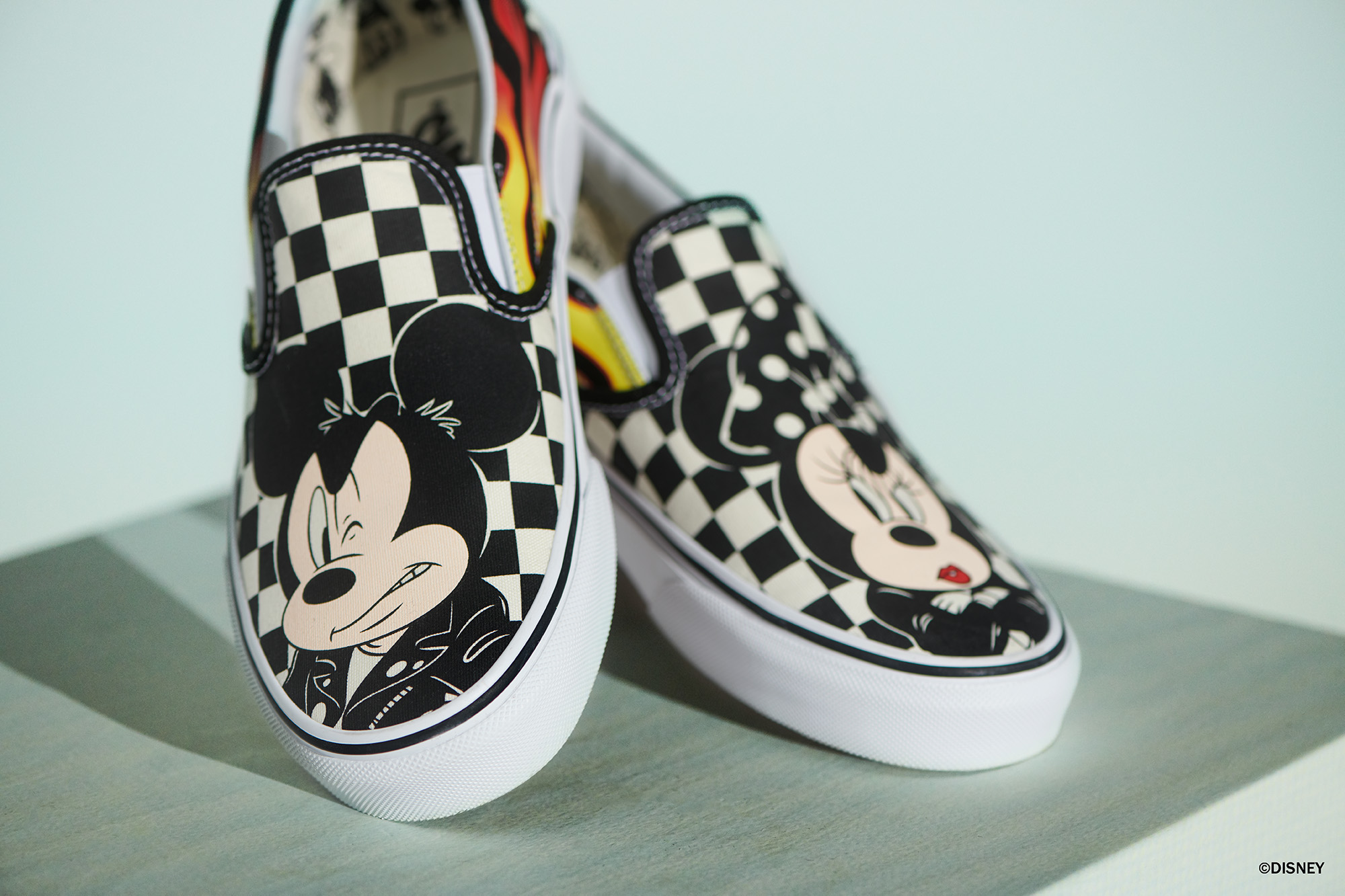 3fa909d259 Mickey and Minnie get a bad-ass makeover as the couple takes over the  iconic Vans Checkerboard Slip-On