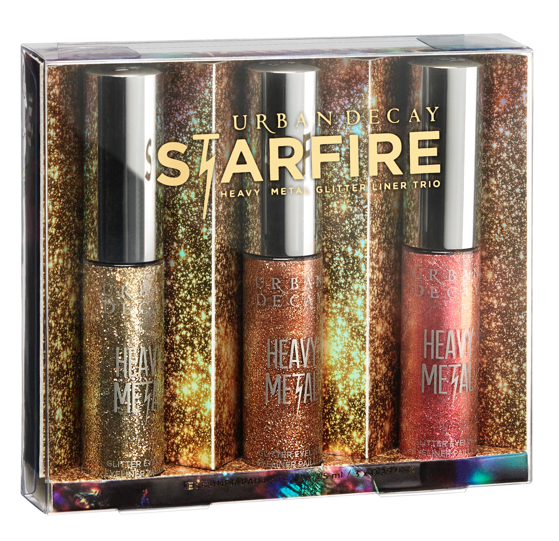 Starfire Heavy Metal Glitter Liner Trio ($64): Three amazing shades (including two new additions) in full-size vials — Midnight Cowboy (a beige and gold glitter), Starfire (copper glitter), and Volume (pink shimmer with peach shift).