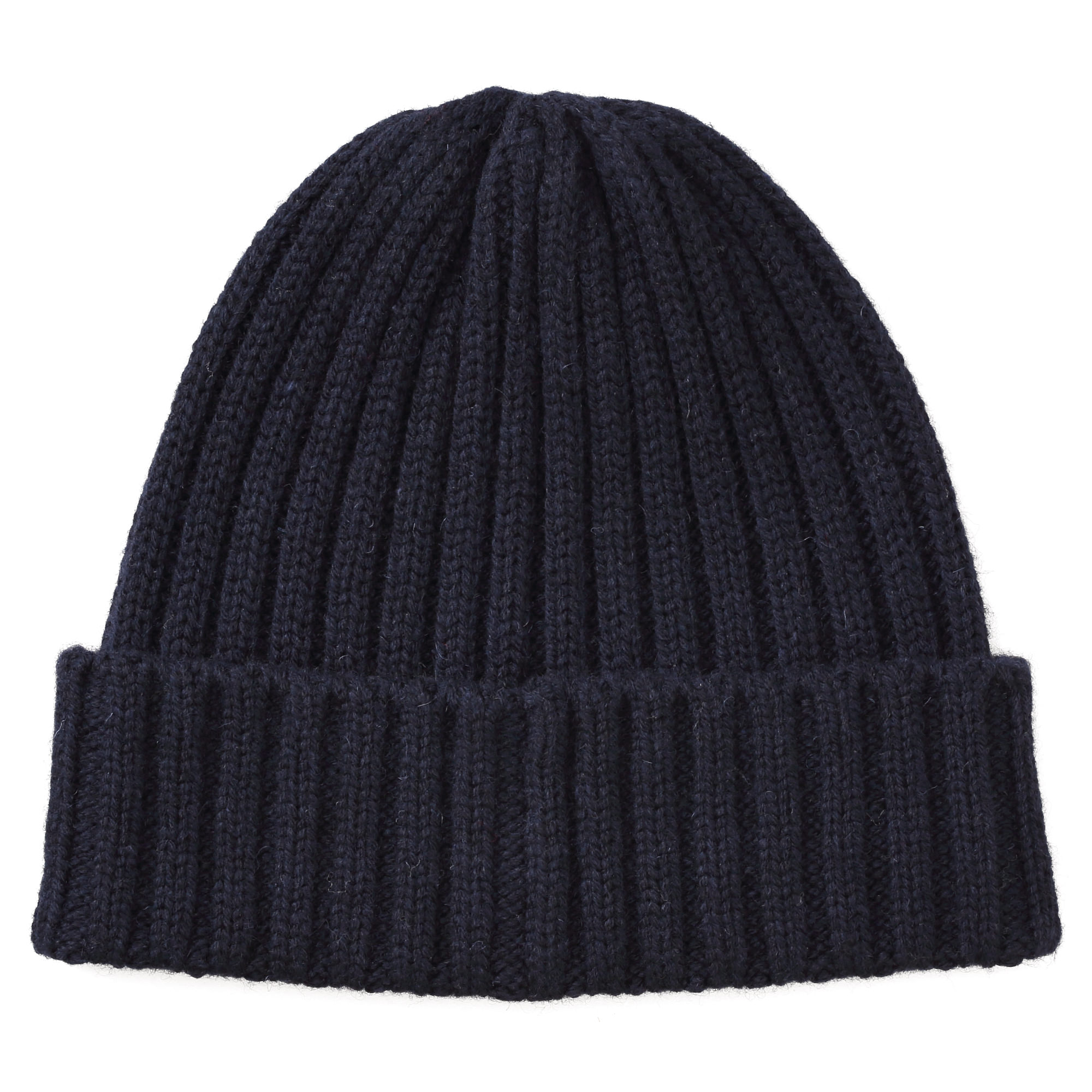 Wool Less Itchiness Ribbed Washable Watch Cap Navy U.P. $29 (Less 10%)