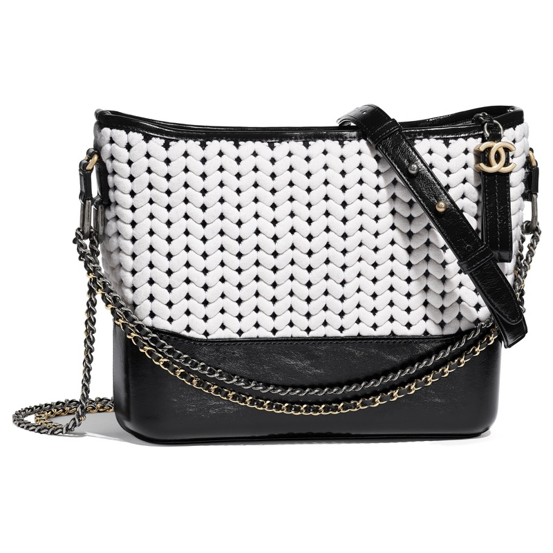 Gabrielle bag in black and white jacquard and black leather