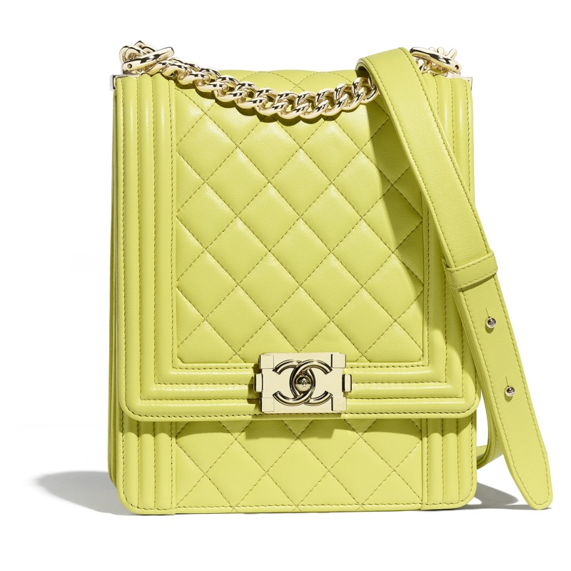 Boy Chanel bag in light green quilted leather