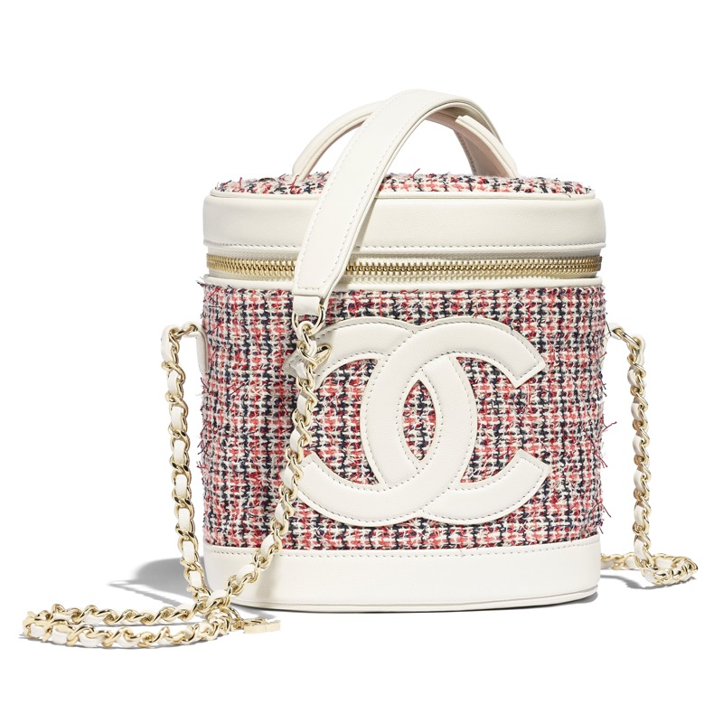 Bag in multi-colour tweed and white leather