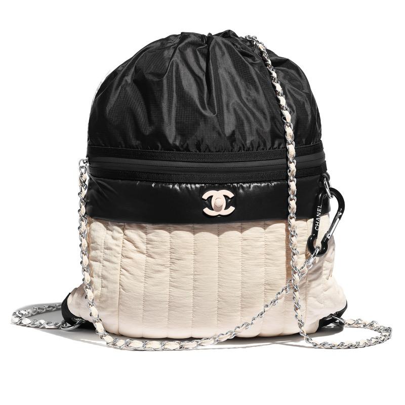 Backpack in black and beige nylon