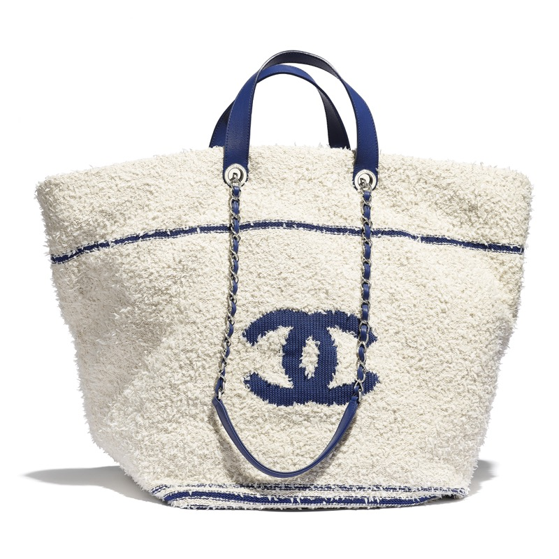 White and blue bag in knit and leather