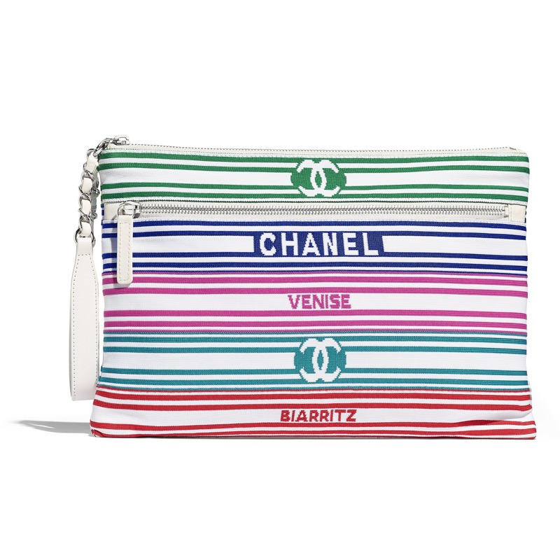 Multi-colour clutch bag in knit and leather