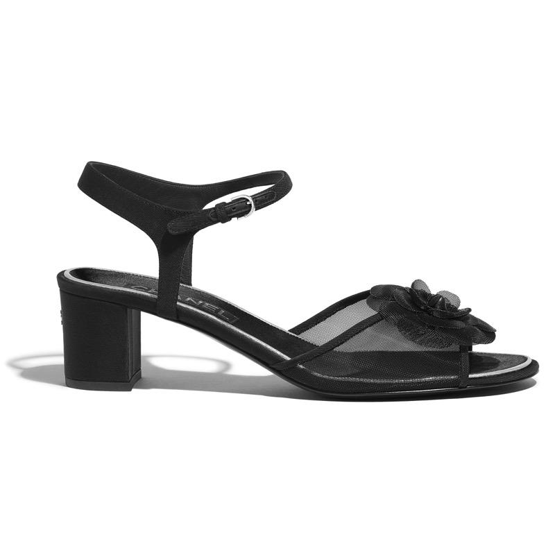 Sandals in black fishnet and grosgrain