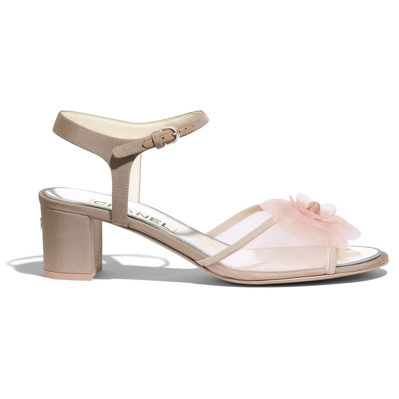 Sandals in pink fishnet and beige grosgrain