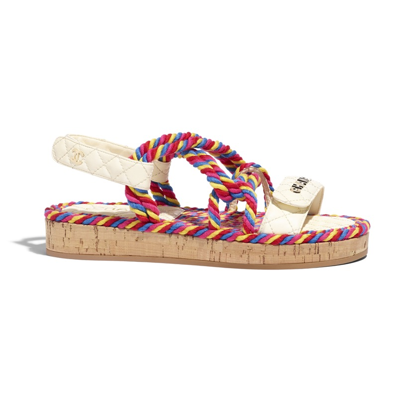 Sandals in ivory leather, cork and multicolor cord