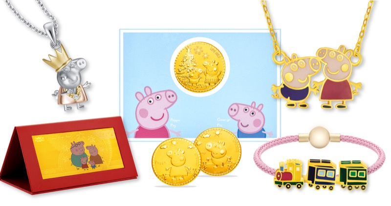 Jewellery and Gold Collectibles. Clockwise from left: Princess Peppa Pendant ($169), Peppa & George Christmas Wish Gold Coin ($69), Peppa & George Gold Necklace ($399), Ms Rabbit's Train Gold Charm ($279), Peppa Family & Friends 999 Pure Gold Collectible ($69)