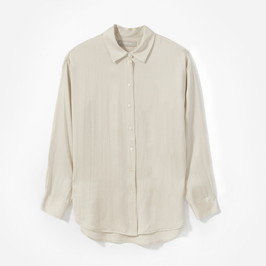 Everlane The Clean Silk Charmeuse Oversized Shirt, $176