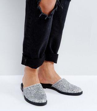Asos Monki Metallic Glitter Mules, $26.99