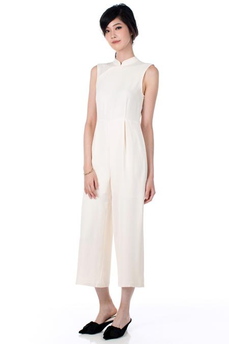 Dotted Lines Peggy Jumpsuit in Cream, $259