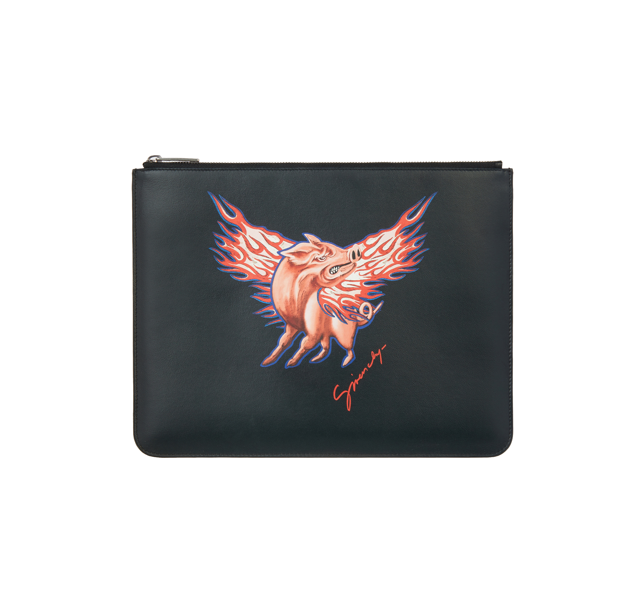 Givenchy 'Flying Pig' Large Leather Zipped Pouch