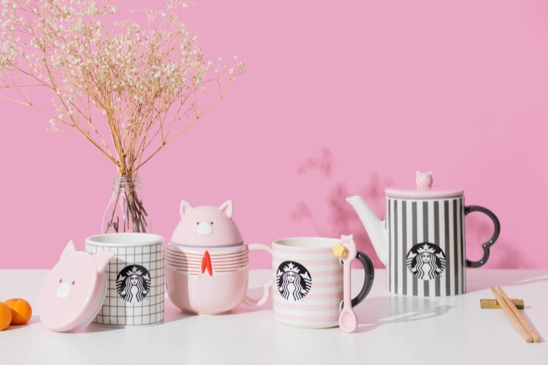 Left to right: Ceramic canister ($36.90), Mug 12oz ($39.90), Mug with spoon 12oz ($32.90), Teapot ($62.90 — Only available at selected stores)