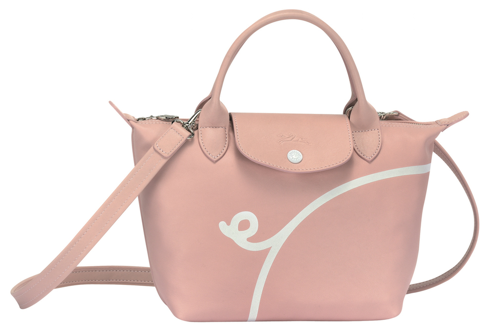 Mr Bags x Longchamp Le Pliage® Cuir Top Handle Bag in Pinky. $790 (Front View)