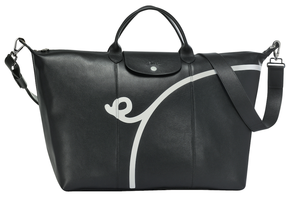 Mr Bags x Longchamp Le Pliage® Cuir Travel Bag in Black, $1,500 (Front View)