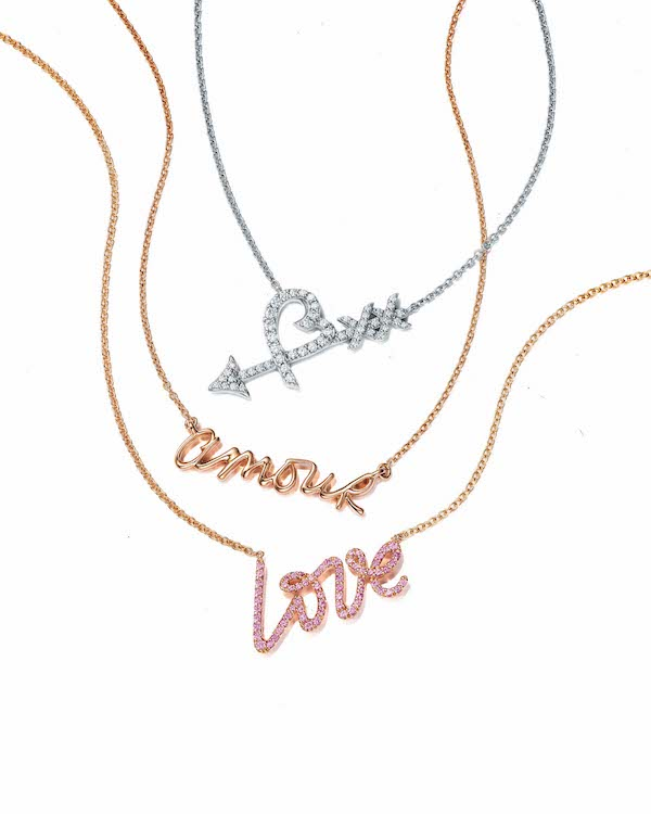 Middle: Paloma's Graffiti Amour Pendant in 18k Rose Gold ($1200)