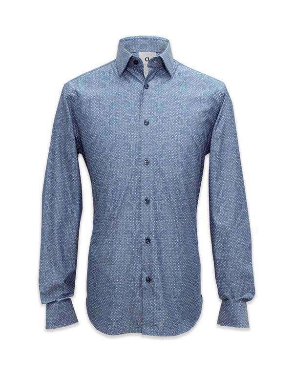 Q Menswear Long Sleeved Printed Chambray Shirt, $111.30