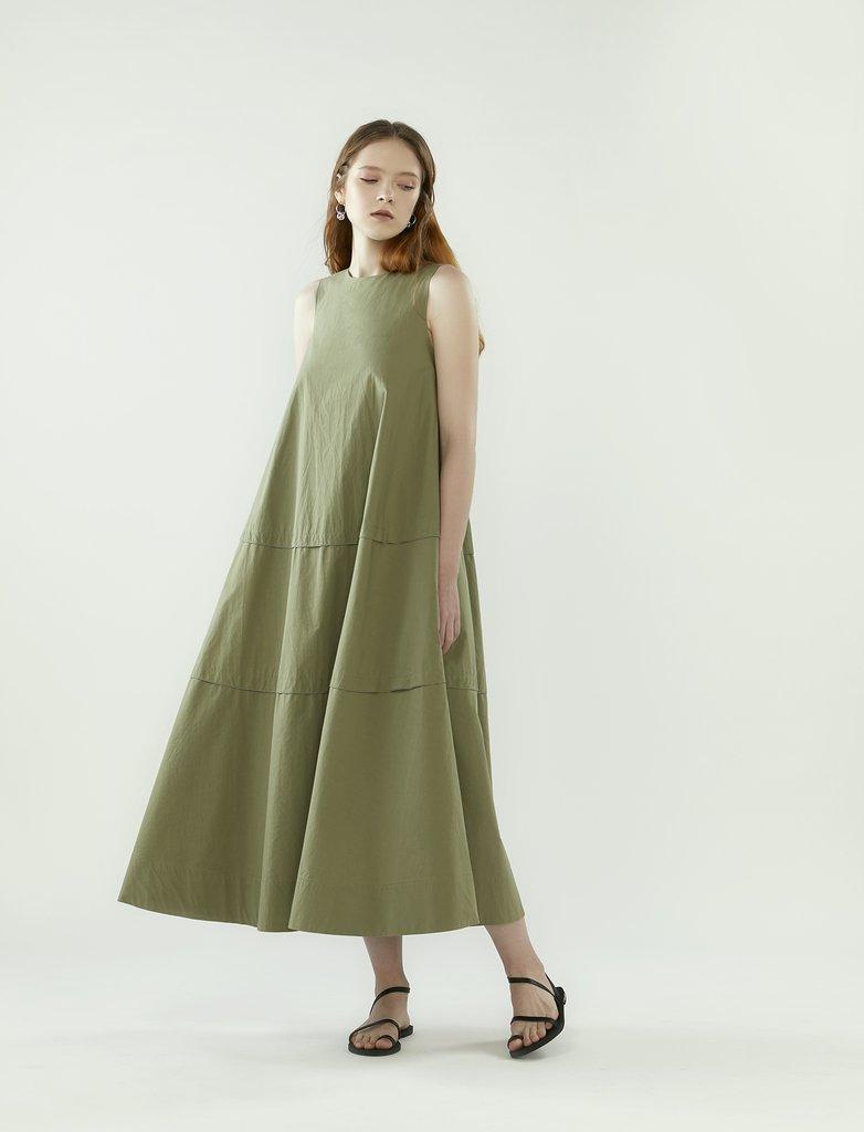 Rye Layered Panel Tent Dress in Eucalyptus, $189