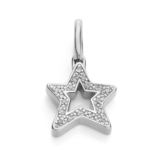 Alphabet Star Diamond Pendant Charm in Sterling Silver ($315)