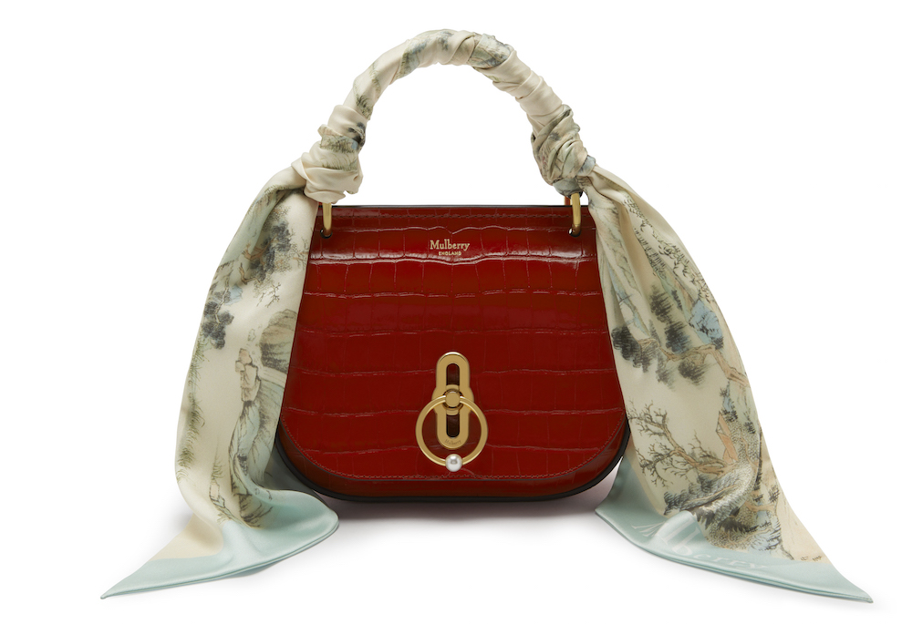 MulberrySmall Amberly Satchel Croc in Scarlet, $1,375