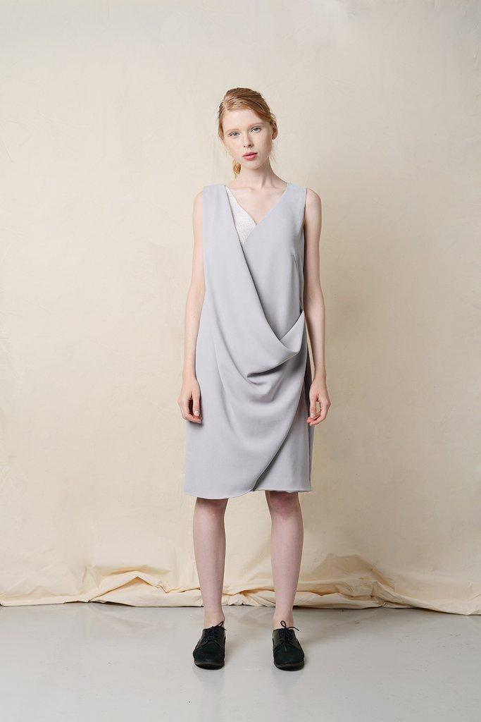 THYINE Drape Wrap Front Dress in Grey, $129