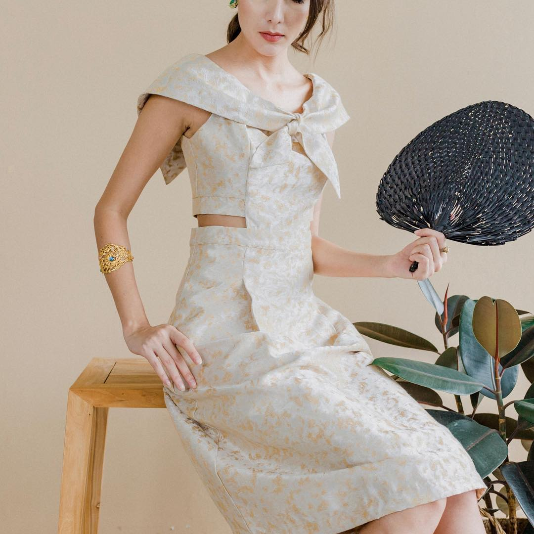 The Missing Piece Portia Offshoulder Jacquard Dress in Champagne, $280