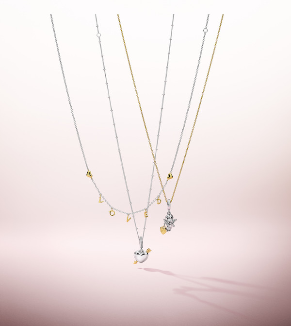 Shine Loved Script Necklace ($159), Shine Arrow of Love Dangle Charm ($149), Cupid & You Dangle Charm ($99)