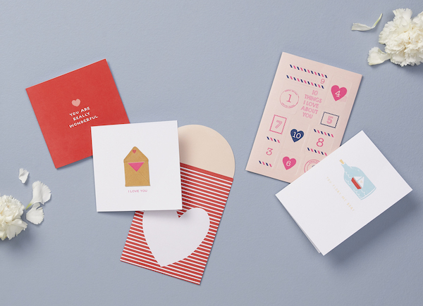 Left to right: Greeting Card Wonderful With Love ($5.90), 365 Days Envelope Card With Love ($6.90), DIY Message Card With Love ($12.90), A6 Greeting Card Boat With Love ($6.90)