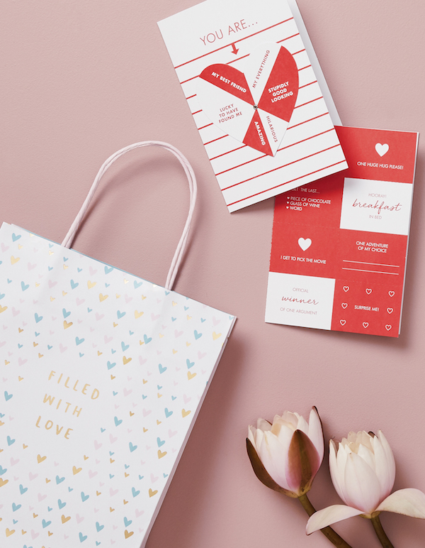 Left to right: Gift Bag Large With Love ($5.90), Spin Wheel Card With Love ($12.90)
