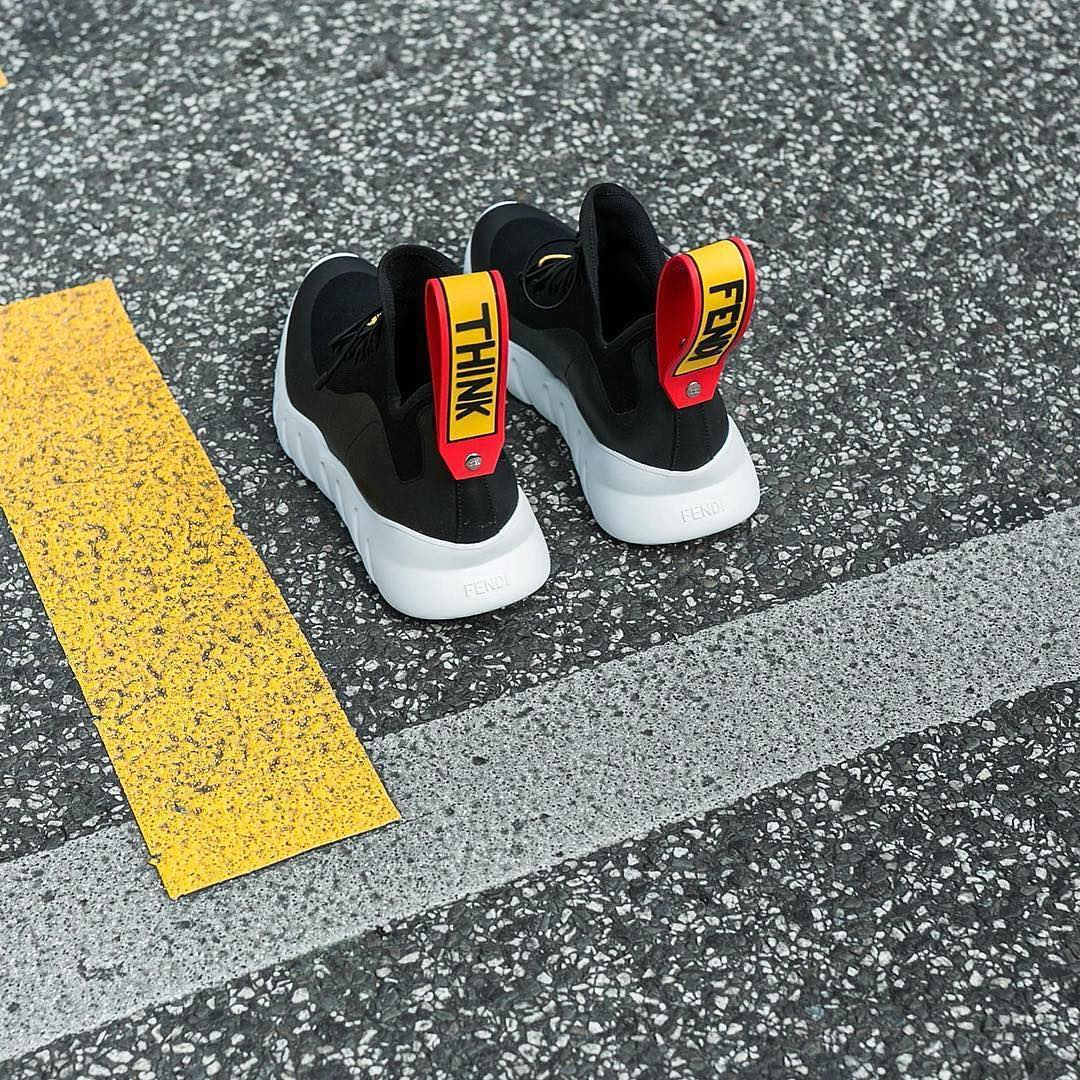 Fendi Shoes Knit Think Color Block Sneakers