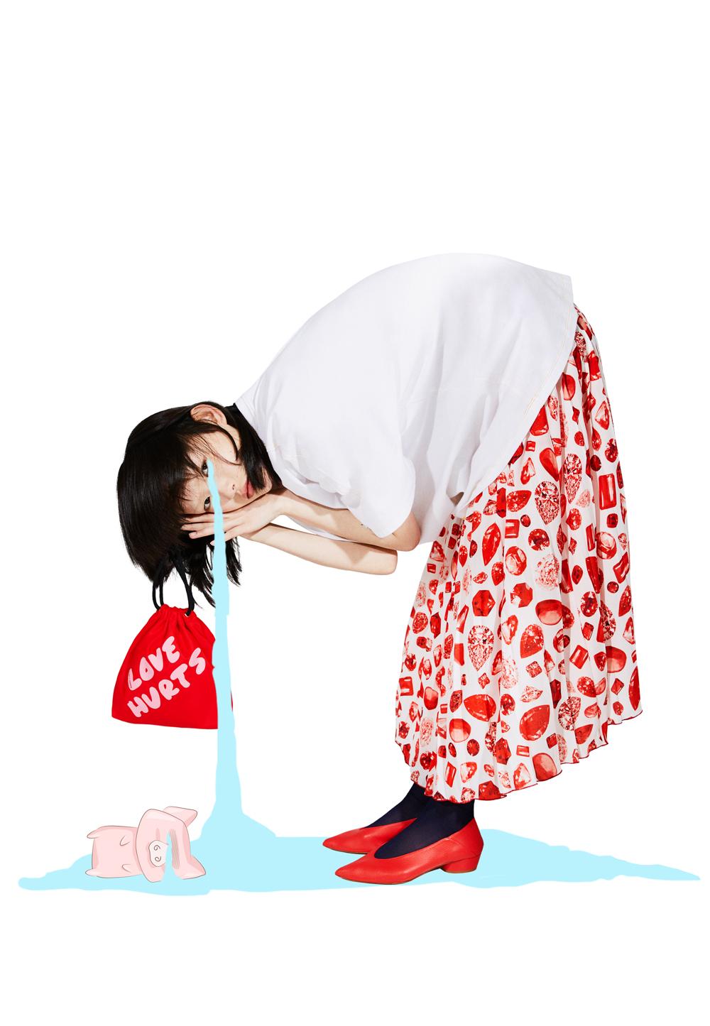 Pleated Valentine's Midi Skirt, $273