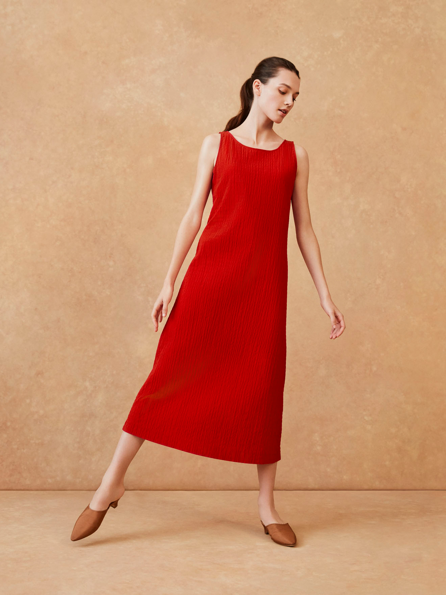 W's HPJ Shearing sleeveless long dress