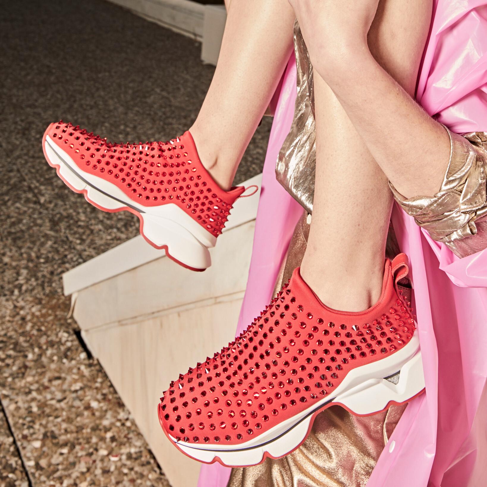 Christian Louboutin Krystal Sock Donna Neoprene Crystal Spikes In Red