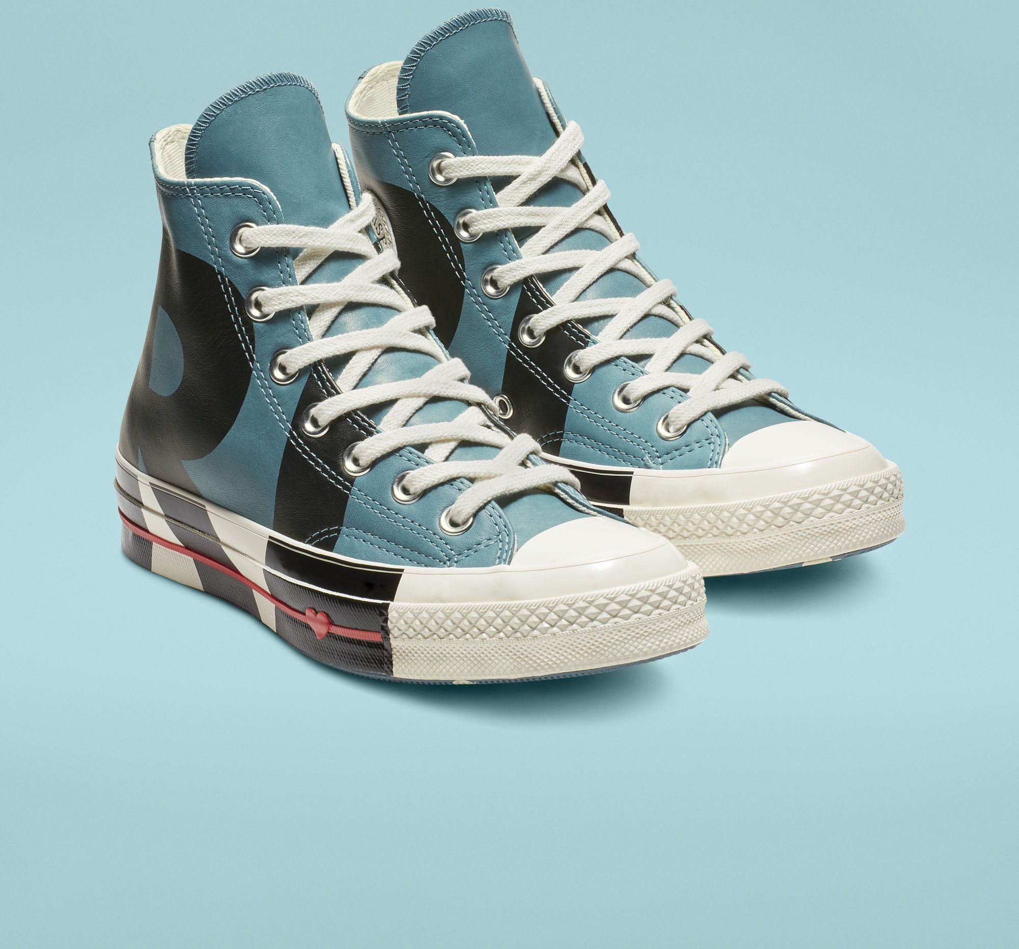 Chuck 70 Love Graphic High Top in Celestial Teal/Black/Egret