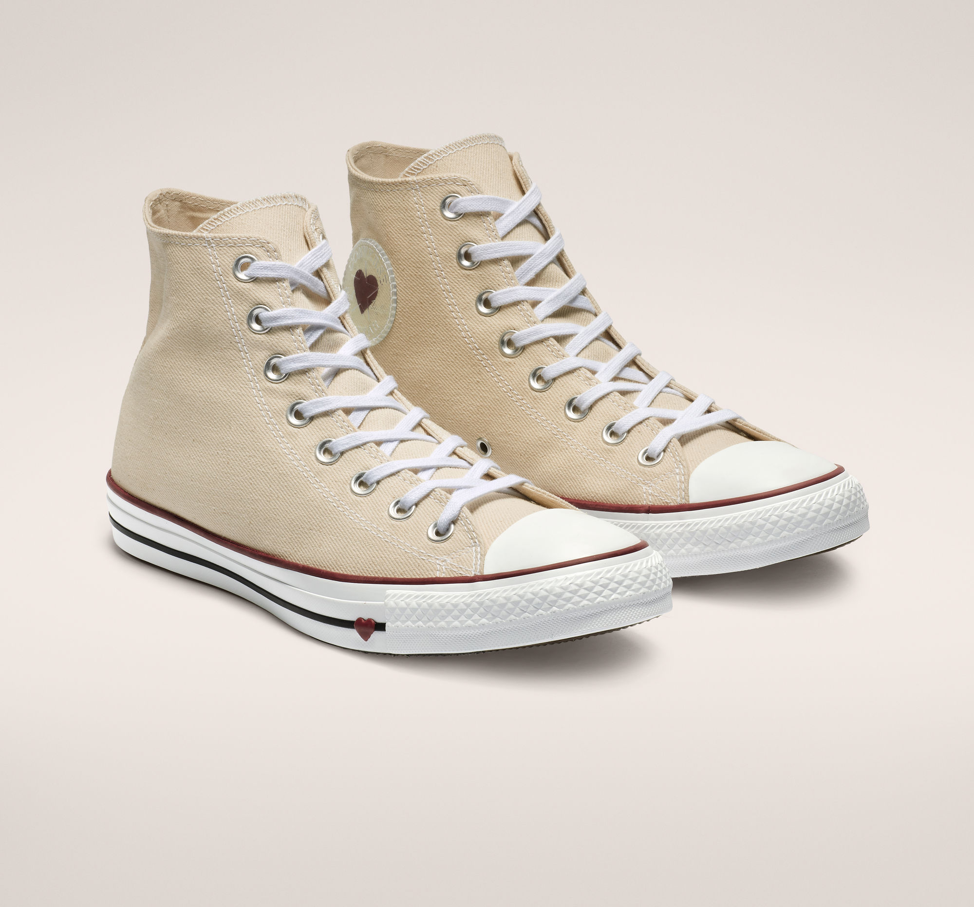 Chuck Taylor All Star Denim Love High Top in Natural White/Garnet