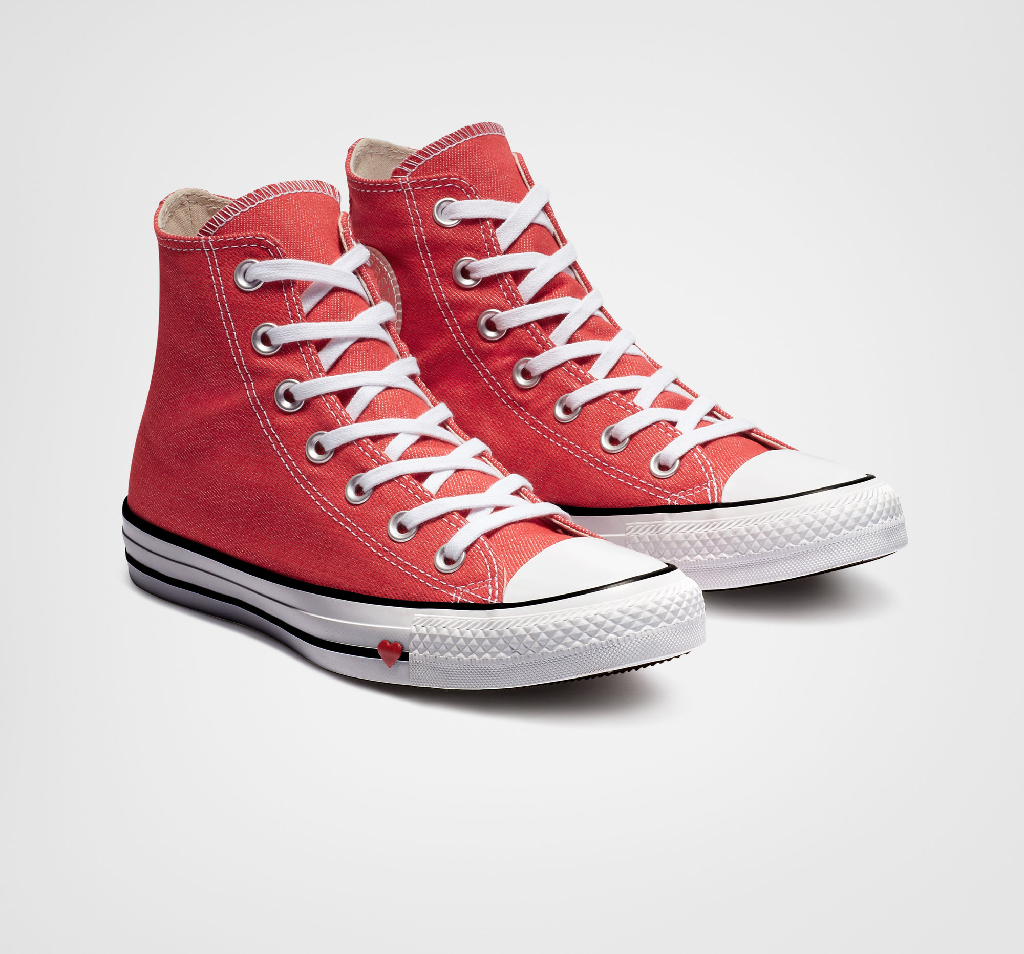 Chuck Taylor All Star Denim Love High Top in Sedona Red/Black/White