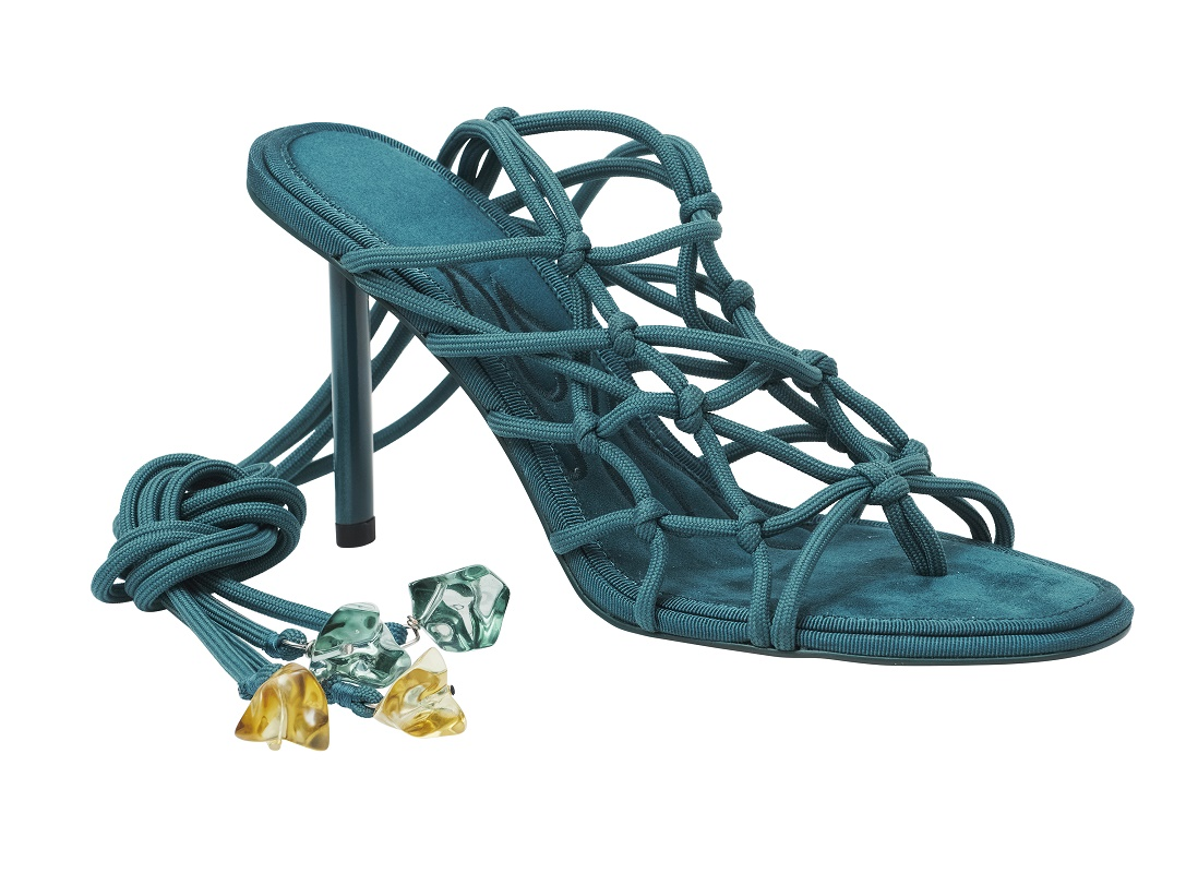 Caged Tie Up Heeled Sandals, $139