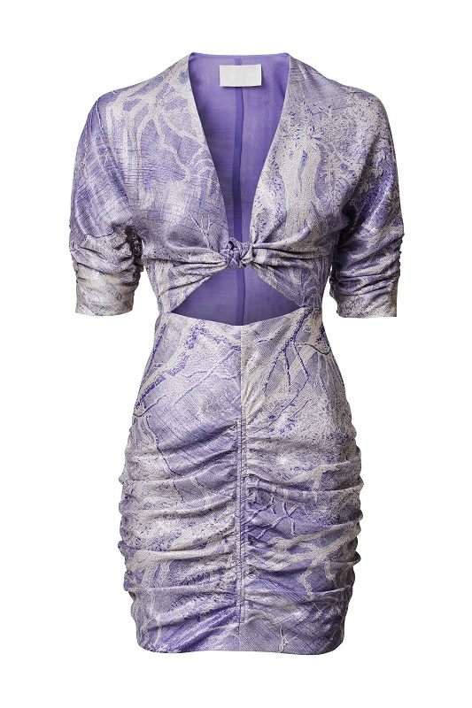 Jacquard Dress with Cut Out, $159