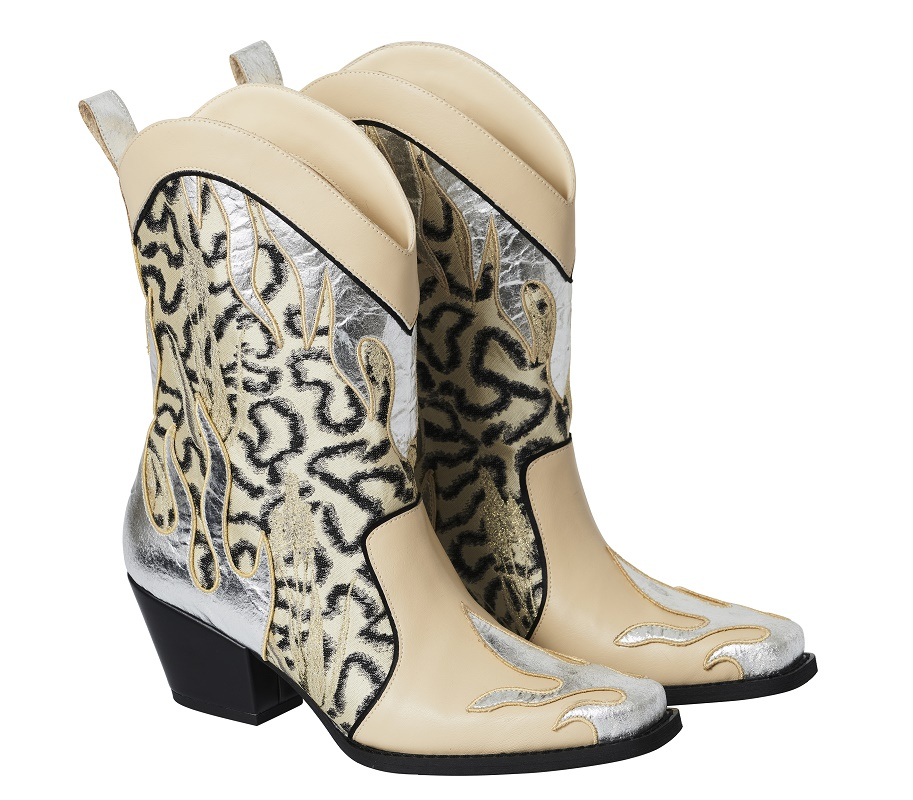 Metallic Patterned Boots, $219
