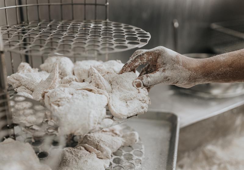 KFC Chicken being racked