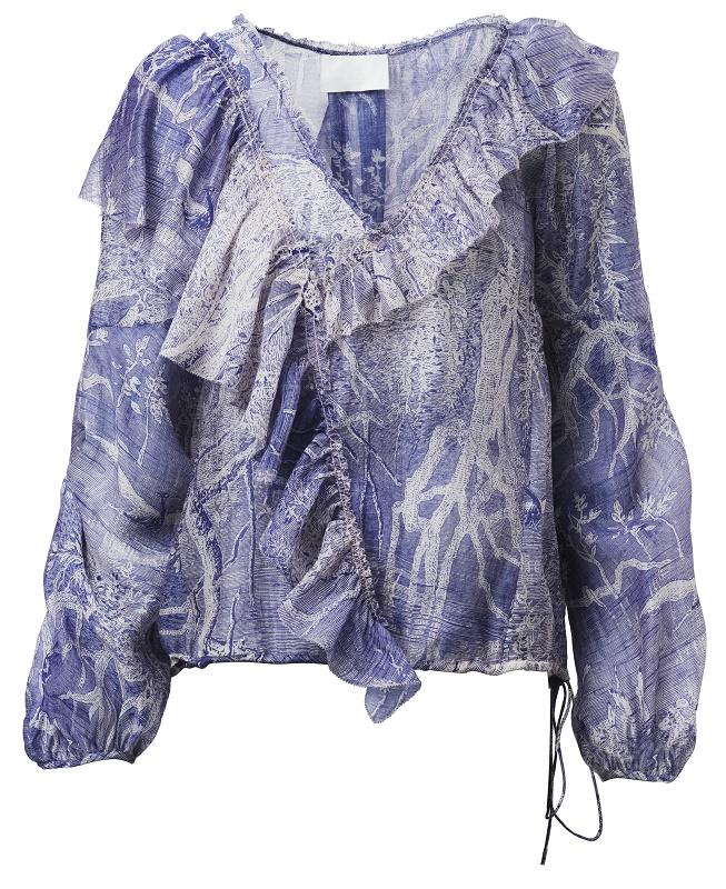 Purple Ruffle Blouse, $109
