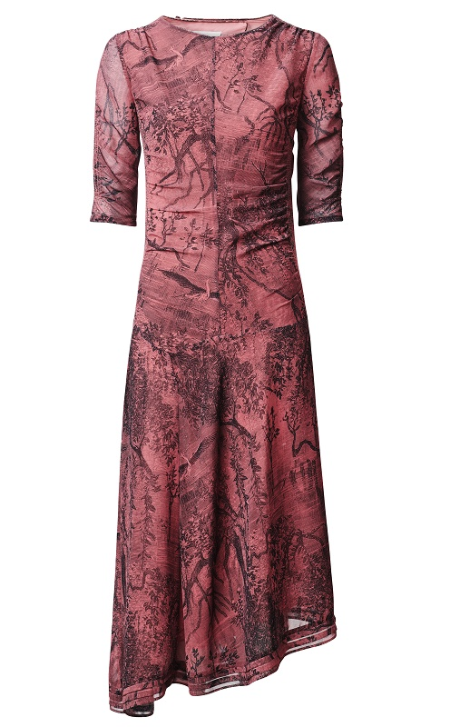 Red Abstract PrintDress with Slanted Hem, $139