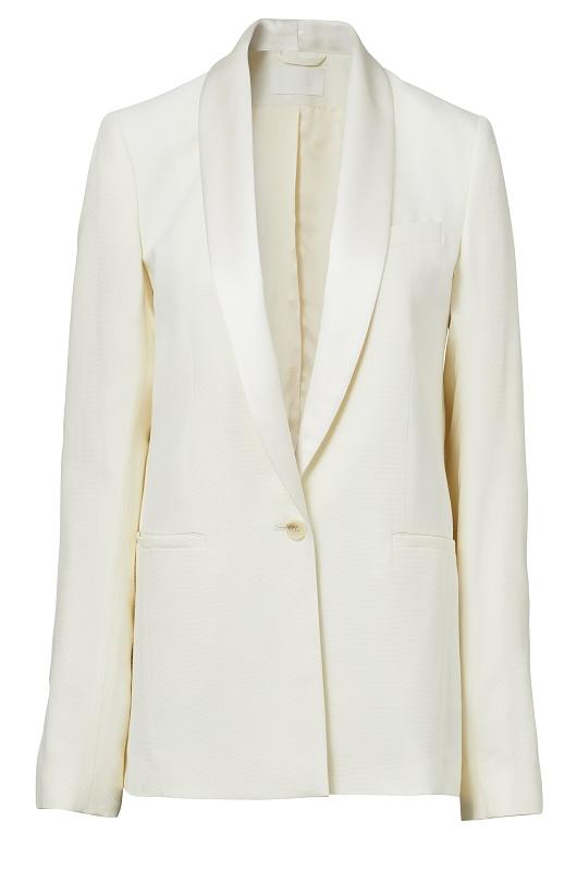 Satin Lapel White Blazer, $219