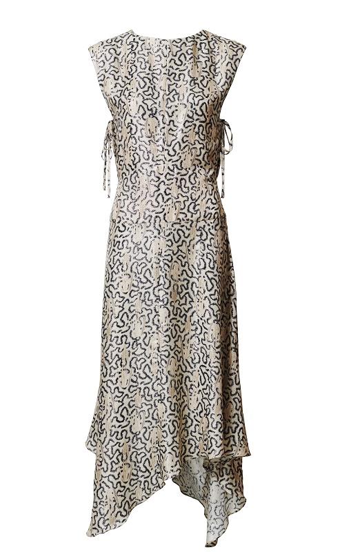 Sleevelss Mazi Dress with Uneven Hem, $179